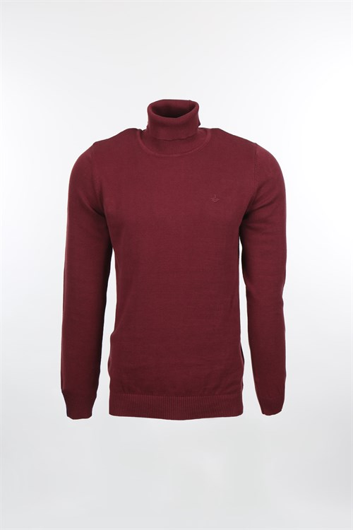 Bordo Slim Fit Tam Balıkcı Yaka Triko