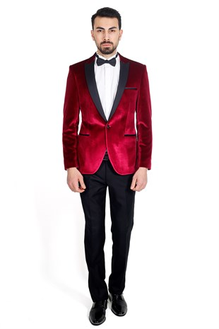 Bordo Slim Fit Sivri Yaka Damatlık