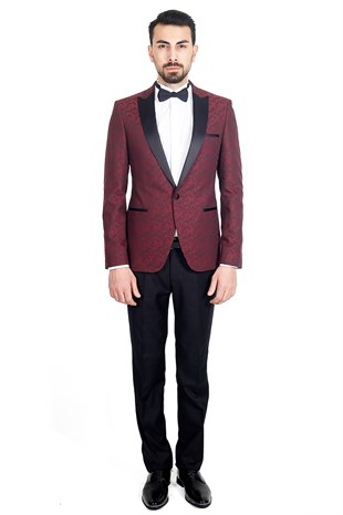 Bordo Slim Fit Şal Yaka Damatlık