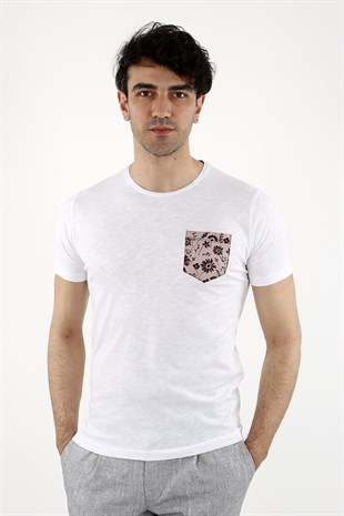 Bordo   Slim Fit  T-Shirt  Bisiklet Yaka