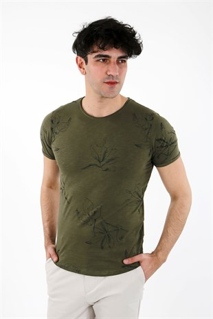 Haki Slim Fit Bisiklet Yaka T-Shirt