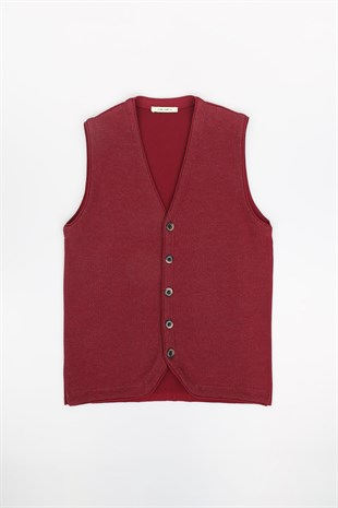 Bordo Slim Fit Erkek Triko Yelek