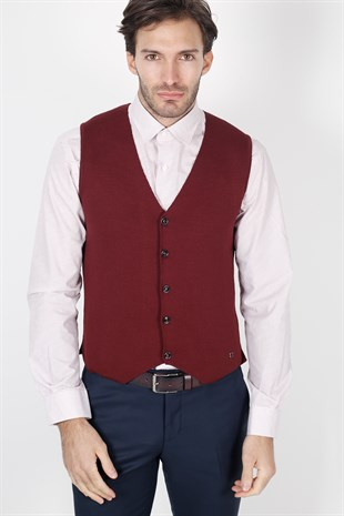 Koyu Bordo  Slim Fit Triko Yelek
