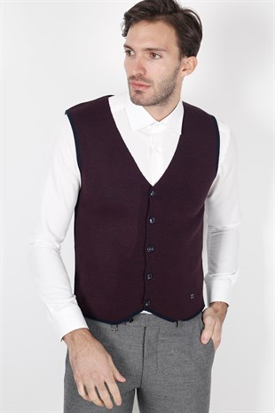 Lacivert Bordo Slim Fit Triko Yelek