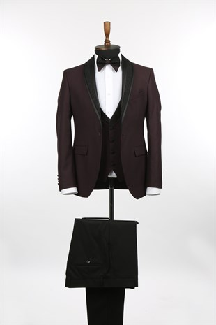 Bordo Slim Fit Sivri Yaka Yelekli Damatlık